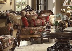 "Homey Design Loveseat HD-39  Description:  Self Described, this Living Room Loveseat of Homey Design, made headway since Day One of its presentation here at Homey Design. This Loveseat is much more Spectacular than words may Describe. With its mahogany, Cinnamon Finish and its Contemporary Beige, Burgundy and Brown Fabrics in Chenille and Silks. Included are the matching Silky Pillows.  Features:  Palermo Wood Trim Burgundy and Brown Fabrics Dimensions:  Loveseat : 75""L x 39""W x 47""H"