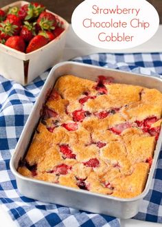 Warm Strawberry Cobbler studded with chocolate chips. The only thing missing is a scoop of ice cream!