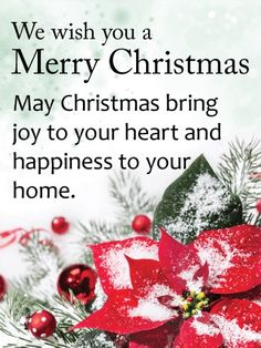 Merry christmas messages for facebookwhatsapp pinterest to greet send free snow covered christmas poinsettia card to loved ones on birthday greeting cards by davia its free and you also can use your own customized m4hsunfo