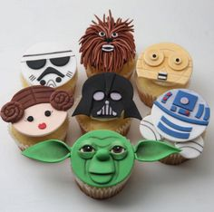 May the force be with these Star Wars themed cupcakes.  Like Chewbacca best.