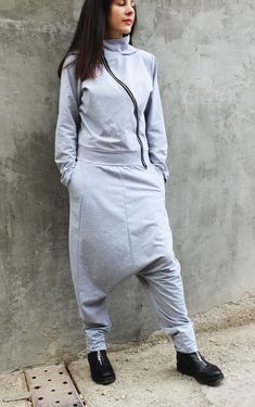 FREE SHIPPING/ Grey Loose Jumpsuit/ Maxi Woman Loose by Fraktura