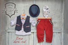 Piccolino enzo βαπτιστικό σετ αγόρι Dark Red, Vest