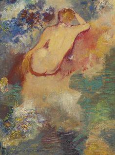 thunderstruck9:    Odilon Redon (French 1840-1916) Naissance de Vénus [Birth of Venus] c.1910. Oil on canvas 21.8 x 16.2 cm.