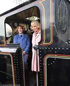 The Duchess met volunteers restoring locomotives and travelled by steam train from Haworth to Oxenhope to celebrate the 50th anniversary of the Keighley and Worth Valley Railway