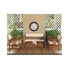 Discount Patio Furniture Set 4 Piece Outdoor Table Garden Chair Sofa Deck Seat