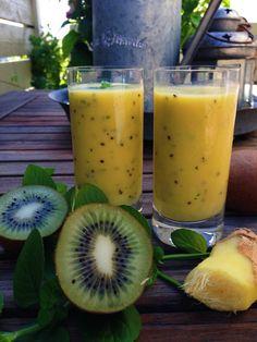 Smoothie med mango, kiwi og ingefær Icecream, Kiwi, Cantaloupe, Smoothies, Mango, Fruit, Food, Summer Recipes, Smoothie