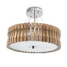 Relaxdays Deckenleuchte RINC groß, helles Holz mit Milchglas für angenehmes Licht, höhenverstellbar, 5-flammig, H=14 cm d=54 cm, natur