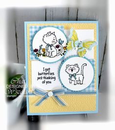 Thinking of You Card Pretty Kitty, Pretty Cats, Parchment Cards, Dog Cards, Animal Cards, Card Sizes, Homemade Cards, Stampin Up Cards, Clarity