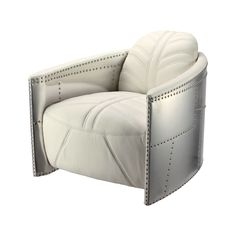 Inspired by classic carryalls, trunks, and the chromed, studded and durable construction of an airplane, this Aviator Leather Chair will bring a touch of first class . Aviation Furniture, Boys Furniture, Luxury Furniture, Furniture Decor, Modern Sofa Designs, Overstuffed Chairs, Oversized Chair And Ottoman, Puff, Single Sofa