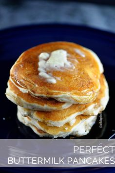 Perfect Buttermilk Pancake Recipe - The BEST buttermilk pancakes! So perfect to make for mom for brunch! from addapinch.com