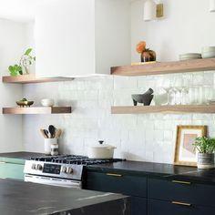 Pure White Zellige - Handmade Moroccan Tile from Zia Tile Black Laminate Countertops, Soapstone Countertops, Black Kitchen Countertops, Soapstone Kitchen, 1960s Kitchen, New Kitchen, Updated Kitchen, Kitchen Living, Black Kitchens