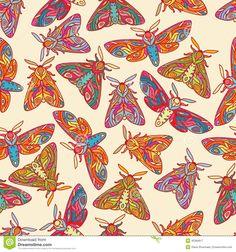 Illustration about Bright butterflies or moths seamless vector pattern. Moths on light background. Illustration of beautiful, line, pattern - 45369917 Lights Background, Vector Pattern, Moth, Butterfly, Challenge Week, Stock Photos, Illustration, Vectors, Prints
