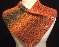 Botones de cuello cálido tejido a mano lana terrosa bufanda chal con capucha madera para el invierno por Els