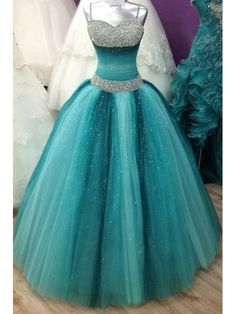 Prom Dresses For Teens, Spaghetti Straps Long Ball Gown Prom Dresses,Beading Sequin Shiny Prom Gowns,Quinceanera Dresses,Modest Prom Dress FOr Teens Short prom dresses and high-low prom dresses are a flirty and fun prom dress option. Long Prom Gowns, Ball Gowns Prom, Ball Dresses, Homecoming Dresses, Dress Prom, Gown Dress, Dress Long, Teal Quinceanera Dresses, Wedding Dresses