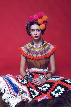 Frida with quilt