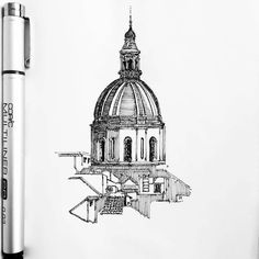 Here's an interesting by Alper Kurt ( of the domed building in Catania Interior Architecture Drawing, Architecture Drawing Sketchbooks, City Architecture, Building Drawing, Building Sketch, Pen Sketch, Art Sketches, Sketches Of Buildings, Hatch Drawing