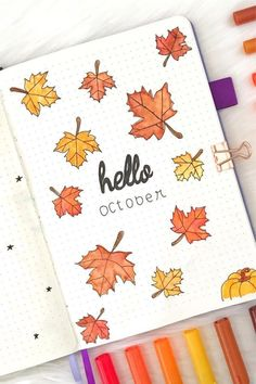 Best Bullet Journal Monthly Cover Ideas For October - Crazy Laura - - If you& looking for some new October monthly cover ideas to try in your bullet journal, then you need to check out these super fun and spooky spreads! Album Journal, Bullet Journal Headers, Bullet Journal Cover Ideas, Bullet Journal Cover Page, Bullet Journal Banner, Bullet Journal Lettering Ideas, Bullet Journal Notebook, Bullet Journal Aesthetic, Bullet Journal School