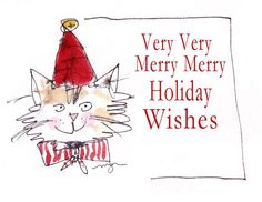 Merry Cat Holiday PostCard Set by MacGregorArt on Etsy, $15.00