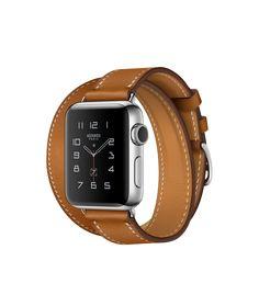 AppleWatch Hermès, 38mm Edelstahlgehäuse mit DoubleTour Barenia-Lederarmband, Fauve - Apple (CH)