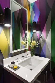 Modern bathroom with technicolor geometric wall paint pattern *I like this for a powder room. Geometric Wall Paint, Geometric Wallpaper, Pattern Wallpaper, Colorful Wallpaper, Bold Wallpaper, Graphic Wallpaper, Wall Paint Patterns, Painting Patterns, Beautiful Bathrooms