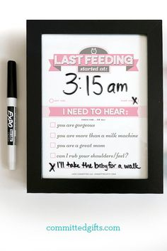 Dry Erase Newborn Feeding Tracker | Baby Shower Gift | Breastfeeding Moms | Black Frame. Use it for years with included Sleep Tracker + Chore Request Chart.