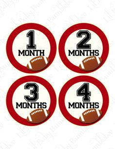 Monthly Onesie Baby Stickers - Crimson - Oklahoma Sooners Inspired Football - Great Baby Shower Gift and Photo Prop. $9.00, via Etsy.