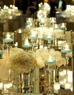 I Love Everything About this Look    White flowers, glass vases, and candles everywhere: tablescape, wedding centerpiece