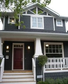 Exterior Colors: grey house with deep red door Exterior Paint Colors For House, Paint Colors For Home, Exterior Colors, Exterior Design, Outside House Colors, Yellow Front Doors, Grey Exterior, Grey Houses, Bungalows