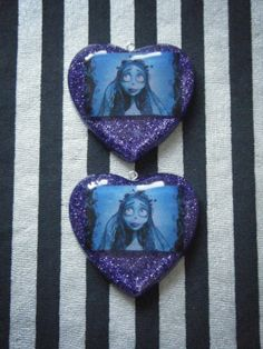 Emily the corpse bride hand cast resin hearts. Custom order for a customer.