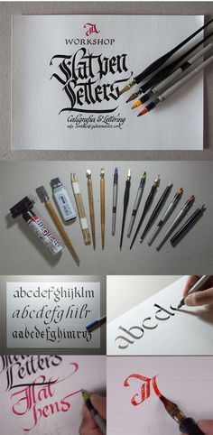 Flat pen Letters - Workshop about custom lettering ( https://www.behance.net/gallery/14920031/Workshop-Flat-pen-Letters ):