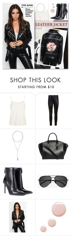 """""""Rose Studded Leather Moto Jacket - street style"""" by typealpha ❤ liked on Polyvore featuring The Row, Givenchy, W. Britt, Alexander McQueen, Alexander Wang, Yves Saint Laurent, Topshop, monochrome, sunglasses and choker"""