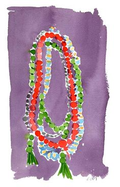 Mala beads used for meditations.  Also looks strikingly similar to a Hawaiian flower lei.