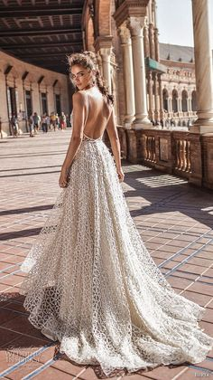 berta fall 2018 bridal sleeveless spaghetti strap deep plunging v neck full embellishment romantic sexy a line wedding dress open back chapel train (4) bv -- Berta Fall 2018 Wedding Dresses