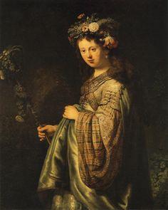 Рембрандт Харменс ван Рейн. Портрет Саскии в образе Флоры, 1634