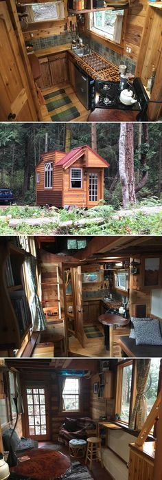 Located on Marrowstone Island, a short drive from Port Townsend, Washington, is the Unique Craftsmen Tiny House. The tiny home is available for nightly rental through Airbnb. Tyni House, Tiny House Cabin, Tiny House Living, Tiny House Plans, Tiny House Design, Tiny House On Wheels, House Floor, Tiny Cabins, Tiny Spaces