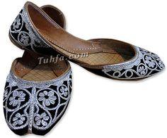 Ladies Khussa- Black/Silver | Pakistani Indian Khussa Shoes