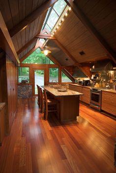 Skylight Ideas that'll Brighten Your Heart (Best 10 Designs) is part of Log home kitchens - Skylight ideas can be a powerful means to create a more open space By installing a skylight, you let the area to have extra natural light Tiny House Cabin, Cabin Homes, Log Homes, A Frame Cabin, A Frame House, Vaulted Ceiling Kitchen, Vaulted Ceilings, Vaulted Ceiling Lighting, Log Home Kitchens