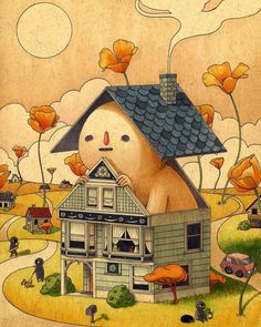 """Felicia Chiao, a self-described """"industrial designer by day and illustrator by night,"""" crafts drawings of humorous and fantastical scenes, packed with vibrant details. Her signature bald, naked pro… Pretty Art, Cute Art, Hippie Art, Animes Wallpapers, Aesthetic Art, Wall Collage, Cute Drawings, Art Inspo, Art Sketches"""