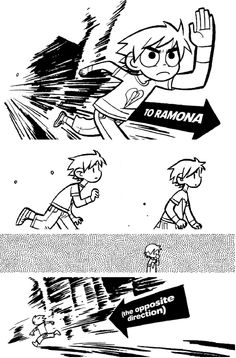 This page perfectly displays Scott Pilgrim's awkwardness and does it in only a few panels.