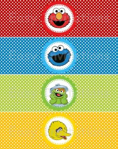 Sesame Street Gang Water Bottle Labels/Wraps by easyinvitations, $3.99