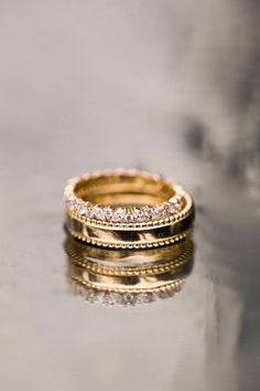 A flash of gold and lots of sparkle. Stacked here is the Double Seed Ring with the Marquise Cluster band. We love the contrast between these two bands. So versatile and perfect for everyday or to add to your bridal stack.