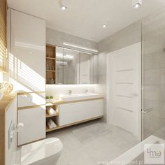 GK: I love the mix of the wood + white + cabinet with mirrored doors. As a result, we have a very bright, clean, simple and spacious room Spa Bathroom Design, Best Bathroom Designs, Bathroom Layout, Modern Bathroom, Small Bathroom, Bad Inspiration, Bathroom Inspiration, Rustic Bathroom Makeover, Laundry Room Bathroom