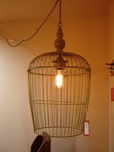 Birdcage pendant. This could be a great dyi project with actual bird cages.