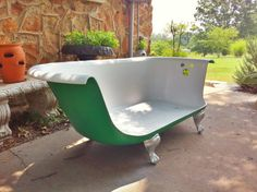 Cast Iron Tub Sofa by HobbitHoleCreative on Etsy.- Whenever I watch Breakfast at Tiffany's, I always notice the strange claw foot bathtub/sofa....I want it!