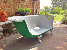 Cast Iron Tub Sofa by HobbitHoleCreative on Etsy.- Whenever I watch Breakfast at Tiffany's, I always notice the strange claw foot bathtub/sofa....I want it!