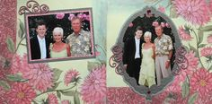 Scrapbook Page - The Groom's Parents - 2 page wedding layout with flowers - from Wedding Album 2