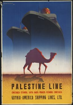 'Palestine Line,' T. Trepkowski, 1935 From the Boston Public Library's Print Collection comes this stunning collection of vintage travel posters from the Golden Age of Travel, when railways stretched across America and Europe, swanky ocean liners brought elegance to international waters, and the roads swelled with automobiles.