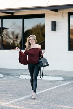 Burgundy Off the Shoulder Top | Casual Valentine's Day Outfit