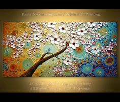 """Original, Abstract tree Painting 48"""" x 24"""" on canvas, Oil, Acrylic, palette knife, textured, Ready to hang"""