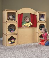 Storage idea and puppet theater all in one! Love it! Great design... No way am I buying
